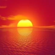 sunset, sea, horizon